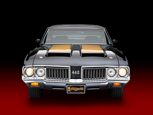 AUT 23 BK0095 01 © Kimball Stock 1970 Oldsmobile 442 W-30 Black With Gold Stripe Front View In Studio