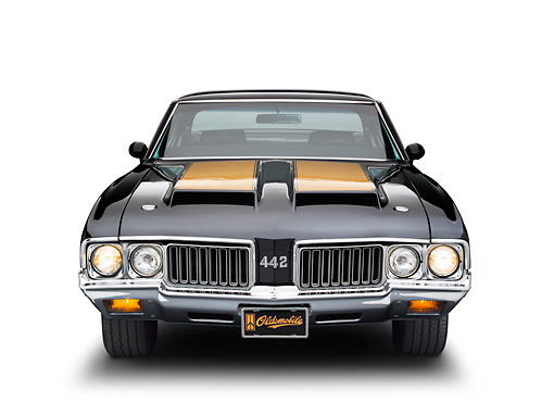 AUT 23 BK0096 01 © Kimball Stock 1970 Oldsmobile 442 W-30 Black With Gold Stripe Front View On White Seamless