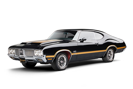 AUT 23 BK0097 01 © Kimball Stock 1970 Oldsmobile 442 W-30 Black With Gold Stripe 3/4 Front View On White Seamless