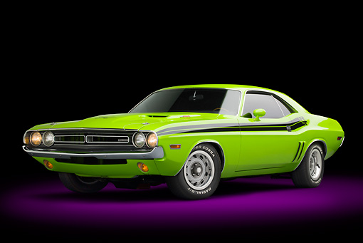 AUT 23 BK0098 01 © Kimball Stock 1971 Dodge Challenger RT Sublime 3/4 Front View In Studio