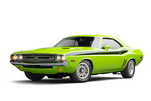 AUT 23 BK0099 01 © Kimball Stock 1971 Dodge Challenger RT Sublime 3/4 Front View On White Seamless