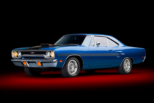 AUT 23 BK0100 01 © Kimball Stock 1970 Plymouth GTX Blue 3/4 Front View In Studio