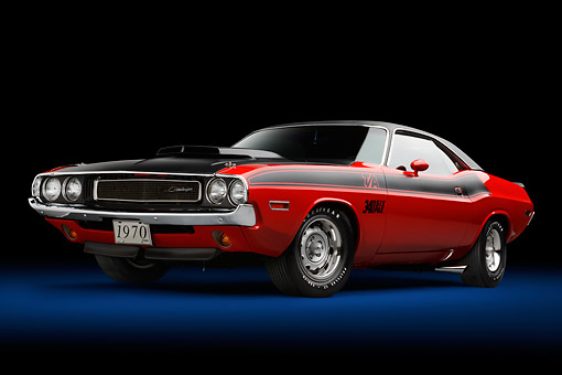 AUT 23 BK0102 01 © Kimball Stock 1970 Dodge Challenger T/A Red And Black 3/4 Front View In Studio