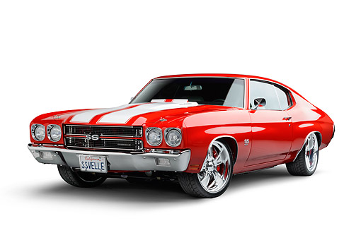 AUT 23 BK0126 01 © Kimball Stock 1970 Chevrolet Chevelle SS Red 3/4 Front In Studio