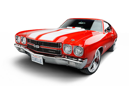 AUT 23 BK0128 01 © Kimball Stock 1970 Chevrolet Chevelle SS Red 3/4 Front In Studio