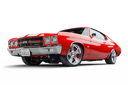 AUT 23 BK0129 01 © Kimball Stock 1970 Chevrolet Chevelle SS Red 3/4 Front In Studio
