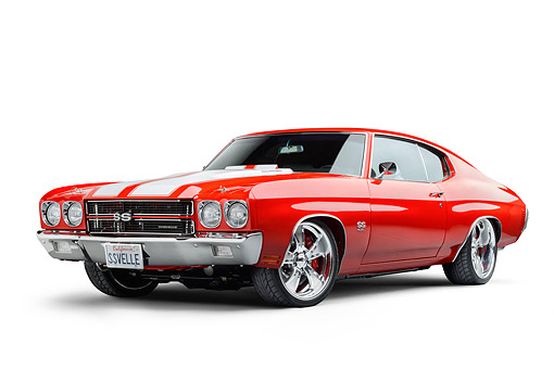 AUT 23 BK0130 01 © Kimball Stock 1970 Chevrolet Chevelle SS Red 3/4 Front In Studio