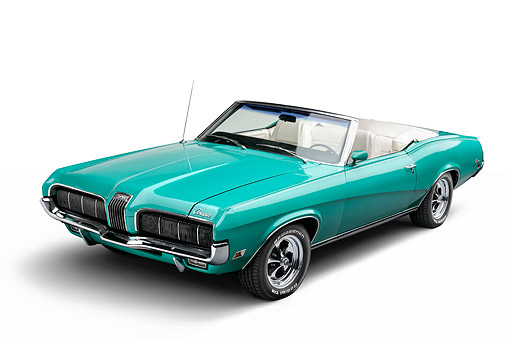AUT 23 BK0132 01 © Kimball Stock 1970 Mercury Cougar Green 3/4 Front In Studio