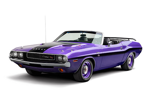 AUT 23 BK0135 01 © Kimball Stock 1970 Dodge Challenger 426 Hemi R/T Purple 3/4 View In Studio