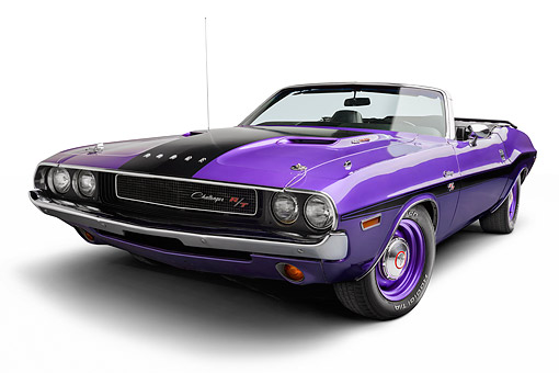 AUT 23 BK0138 01 © Kimball Stock 1970 Dodge Challenger 426 Hemi R/T Purple 3/4 View In Studio
