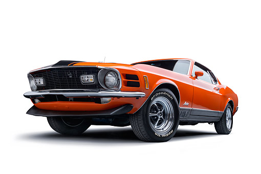 AUT 23 BK0141 01 © Kimball Stock 1970 Ford Mustang Mach 1 Calypso Coral Orange 3/4 Front View In Studio