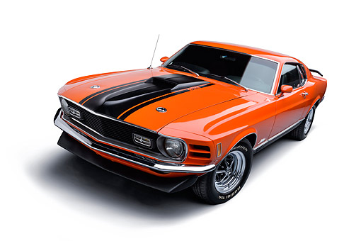 AUT 23 BK0142 01 © Kimball Stock 1970 Ford Mustang Mach 1 Calypso Coral Orange 3/4 Front View In Studio
