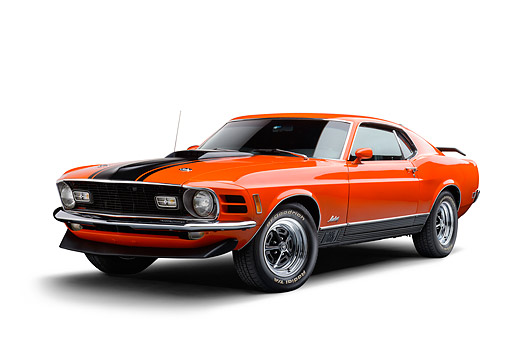 AUT 23 BK0143 01 © Kimball Stock 1970 Ford Mustang Mach 1 Calypso Coral Orange 3/4 Front View In Studio