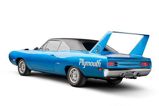 AUT 23 BK0144 01 © Kimball Stock 1970 Plymouth Road Runner Superbird Blue 3/4 Rear View In Studio