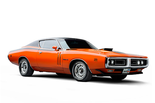 AUT 23 BK0145 01 © Kimball Stock 1971 Dodge Charger R/T Orange 3/4 View In Studio