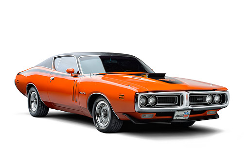 AUT 23 BK0146 01 © Kimball Stock 1971 Dodge Charger R/T Orange 3/4 View In Studio