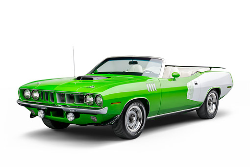 AUT 23 BK0148 01 © Kimball Stock 1971 Plymouth Cuda 340 Sassy Grass Green 3/4 Front View In Studio