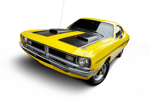 AUT 23 BK0155 01 © Kimball Stock 1971 Dodge Dart Demon 340 Yellow 3/4 Front View In Studio