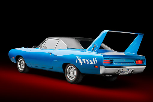 AUT 23 BK0160 01 © Kimball Stock 1970 Plymouth Road Runner Superbird Blue 3/4 Rear View In Studio