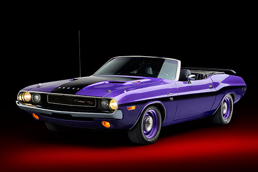 AUT 23 BK0161 01 © Kimball Stock 1970 Dodge Challenger 426 Hemi R/T Purple 3/4 Front View In Studio