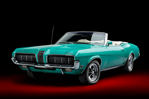 AUT 23 BK0162 01 © Kimball Stock 1970 Mercury Cougar Green 3/4 Front In Studio