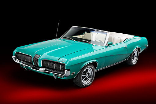 AUT 23 BK0163 01 © Kimball Stock 1970 Mercury Cougar Green 3/4 Front In Studio