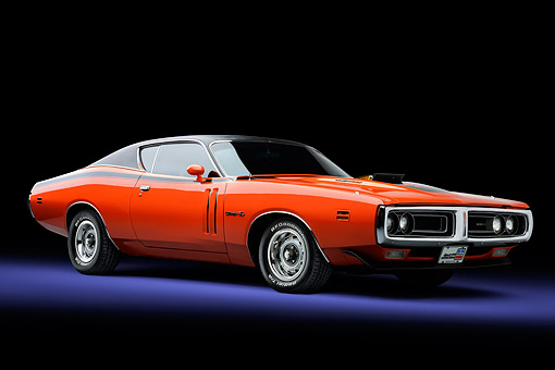 AUT 23 BK0164 01 © Kimball Stock 1971 Dodge Charger R/T Orange 3/4 View In Studio