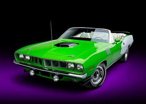 AUT 23 BK0172 01 © Kimball Stock 1971 Plymouth Cuda 340 Sassy Grass Green 3/4 Front View In Studio