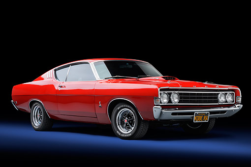 AUT 23 BK0418 01 © Kimball Stock 1969 Ford Torino 428 Cobra Jet Red 3/4 Front View In Studio
