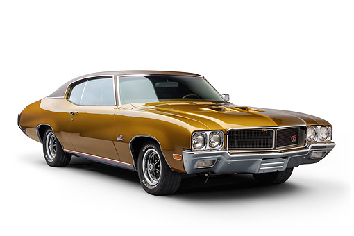 AUT 23 BK0419 01 © Kimball Stock 1970 Buick GS Stage 1 Gold 3/4 Front View In Studio