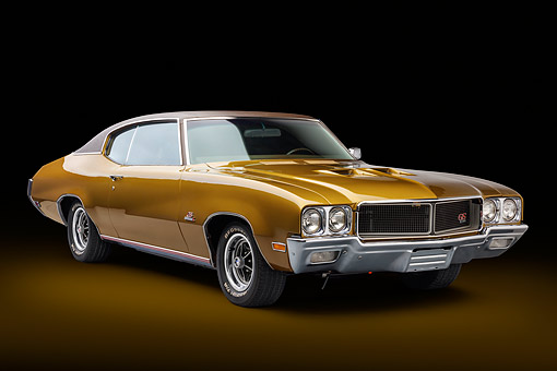 AUT 23 BK0420 01 © Kimball Stock 1970 Buick GS Stage 1 Gold 3/4 Front View In Studio