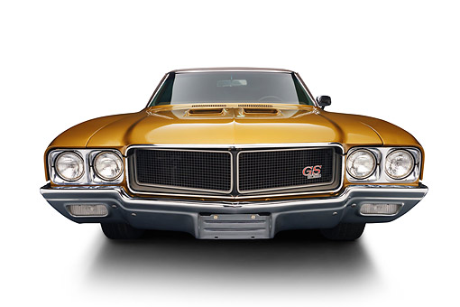 AUT 23 BK0421 01 © Kimball Stock 1970 Buick GS Stage 1 Gold Wide Angle Front View In Studio