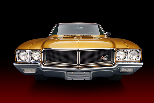 AUT 23 BK0422 01 © Kimball Stock 1970 Buick GS Stage 1 Gold Wide Angle Front View In Studio
