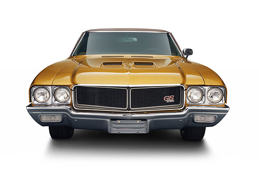 AUT 23 BK0423 01 © Kimball Stock 1970 Buick GS Stage 1 Gold Front View In Studio