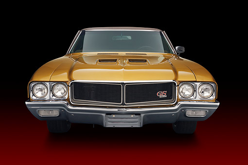 AUT 23 BK0424 01 © Kimball Stock 1970 Buick GS Stage 1 Gold Front View In Studio