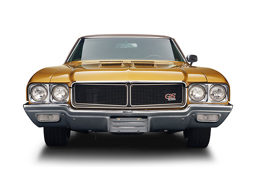 AUT 23 BK0425 01 © Kimball Stock 1970 Buick GS Stage 1 Gold Front View In Studio