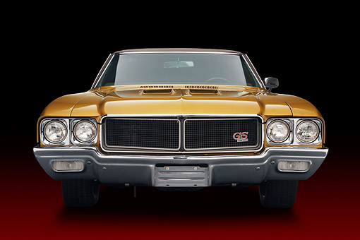 AUT 23 BK0426 01 © Kimball Stock 1970 Buick GS Stage 1 Gold Front View In Studio