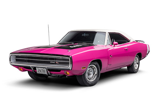 AUT 23 BK0427 01 © Kimball Stock 1970 Dodge Charger R/T 440 Panther Pink 3/4 Front View In Studio