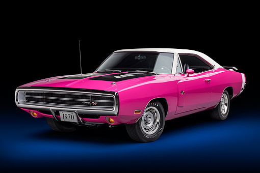 AUT 23 BK0428 01 © Kimball Stock 1970 Dodge Charger R/T 440 Panther Pink 3/4 Front View In Studio