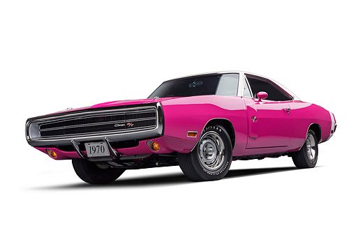 AUT 23 BK0431 01 © Kimball Stock 1970 Dodge Charger R/T 440 Panther Pink Low 3/4 Front View In Studio