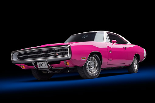 AUT 23 BK0432 01 © Kimball Stock 1970 Dodge Charger R/T 440 Panther Pink Low 3/4 Front View In Studio