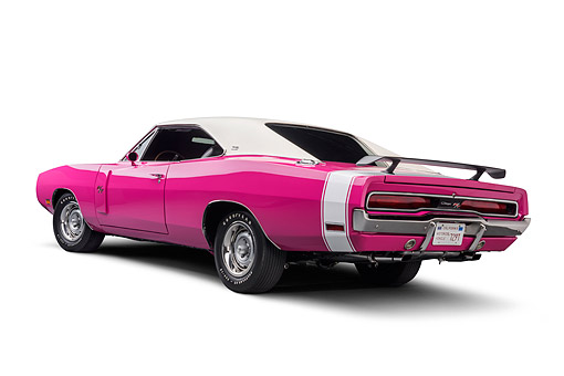 AUT 23 BK0434 01 © Kimball Stock 1970 Dodge Charger R/T 440 Panther Pink Wide Low 3/4 Rear View In Studio
