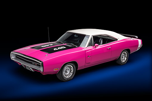 AUT 23 BK0438 01 © Kimball Stock 1970 Dodge Charger R/T 440 Panther Pink Wide 3/4 Front View In Studio
