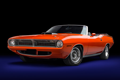 AUT 23 BK0446 01 © Kimball Stock 1970 Plymouth Barracuda Hemi 340 Drop Top Convertible Orange 3/4 Front View In Studio