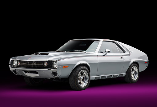 AUT 23 BK0463 01 © Kimball Stock 1970 AMC AMX Silver 3/4 Front View In Studio