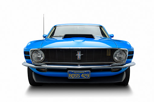 AUT 23 BK0469 01 © Kimball Stock 1970 Ford Boss 429 Mustang Blue Front View In Studio