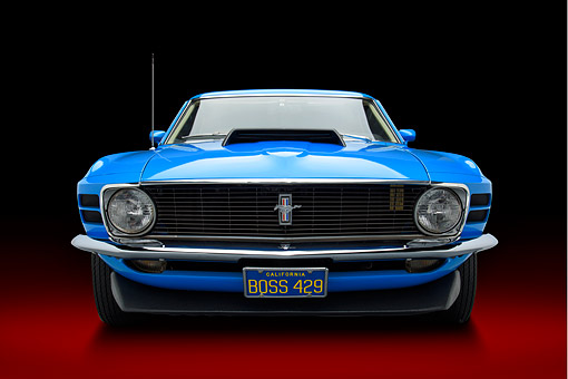 AUT 23 BK0470 01 © Kimball Stock 1970 Ford Boss 429 Mustang Blue Front View In Studio