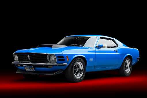 AUT 23 BK0471 01 © Kimball Stock 1970 Ford Boss 429 Mustang Blue 3/4 Front View In Studio