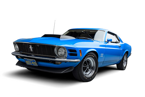 AUT 23 BK0474 01 © Kimball Stock 1970 Ford Boss 429 Mustang Blue 3/4 Front View Wide In Studio
