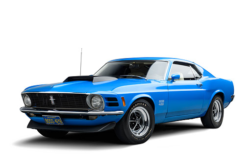 AUT 23 BK0475 01 © Kimball Stock 1970 Ford Boss 429 Mustang Blue 3/4 Front View In Studio